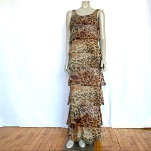 Calvin Klein Animal Print Chiffon Maxi Dress